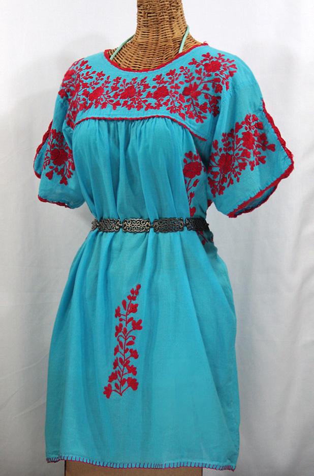 """""""La Primavera"""" Embroidered Mexican Dress - Aqua + Red"""