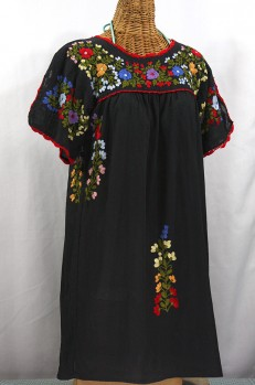 """La Primavera"" Embroidered Mexican Dress - Black"