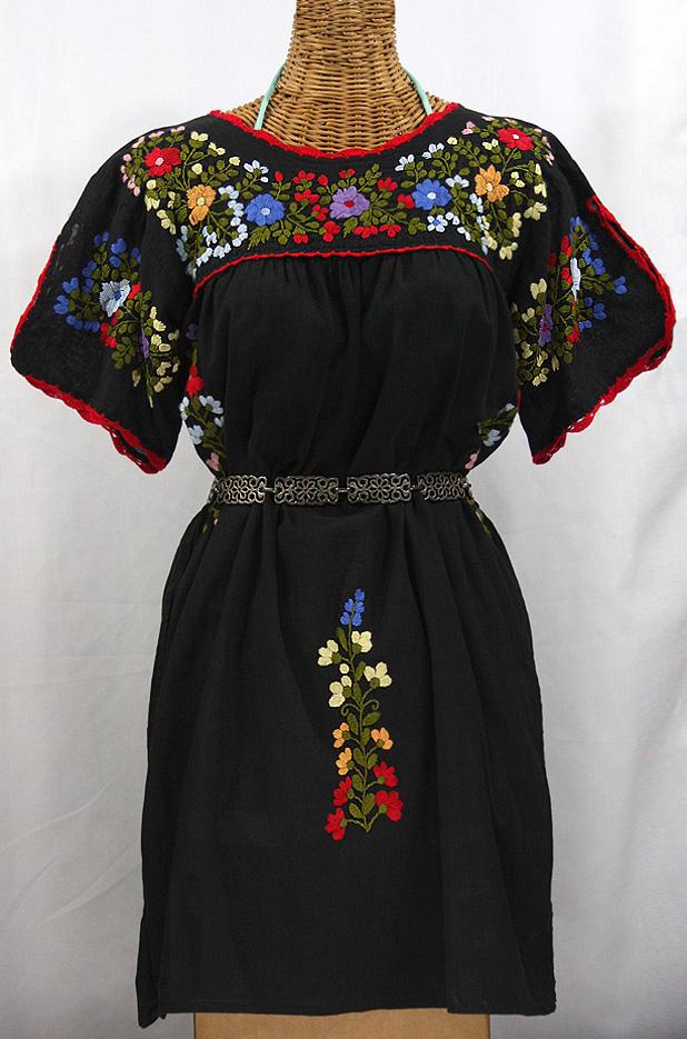 """""""La Primavera"""" Embroidered Mexican Dress - Black"""