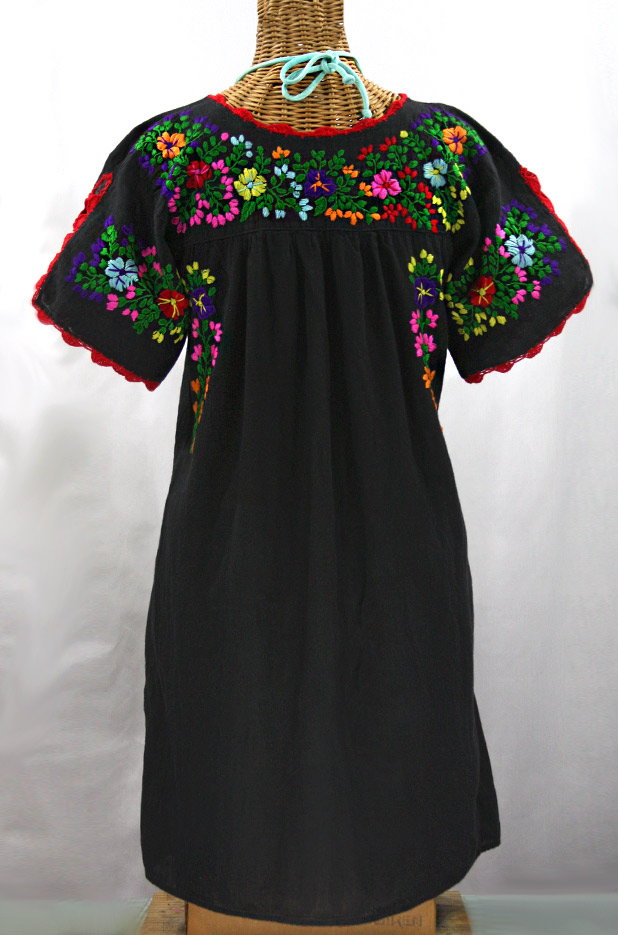 """La Primavera"" Embroidered Mexican Dress - Black + Rainbow"