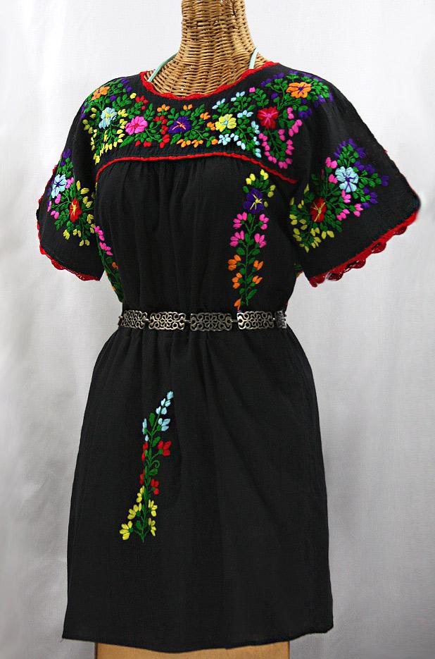 """""""La Primavera"""" Embroidered Mexican Dress - Black + Rainbow"""