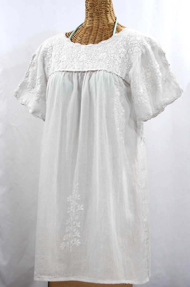 """La Primavera"" Embroidered Mexican Dress - All White"