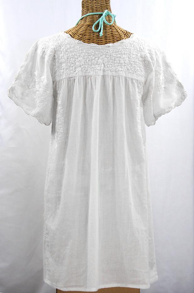 """""""La Primavera"""" Embroidered Mexican Dress - All White"""