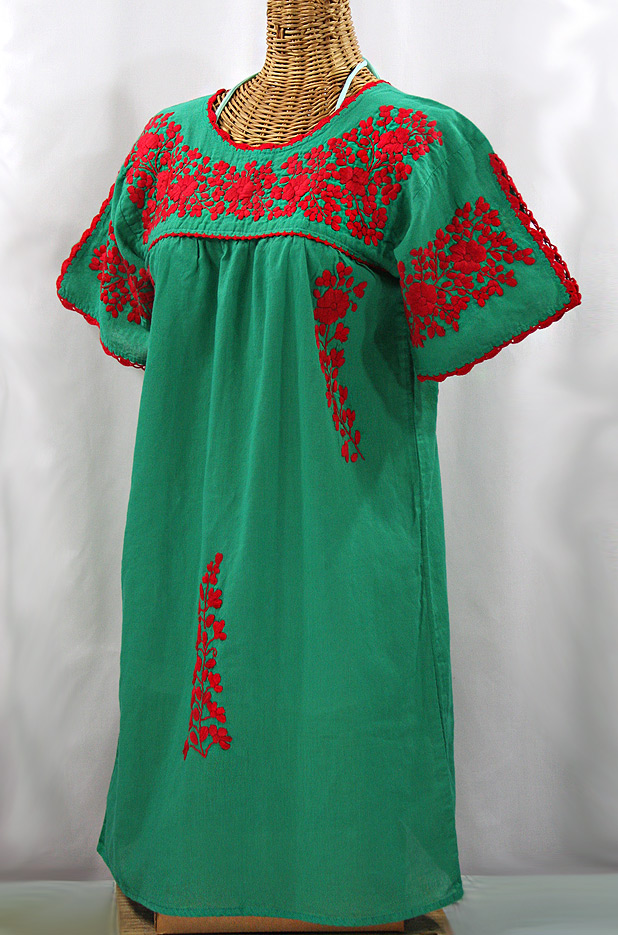 """La Primavera"" Embroidered Mexican Dress - Green + Red"