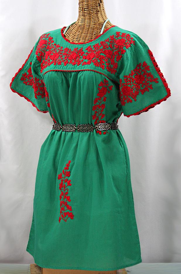 """""""La Primavera"""" Embroidered Mexican Dress - Green + Red"""