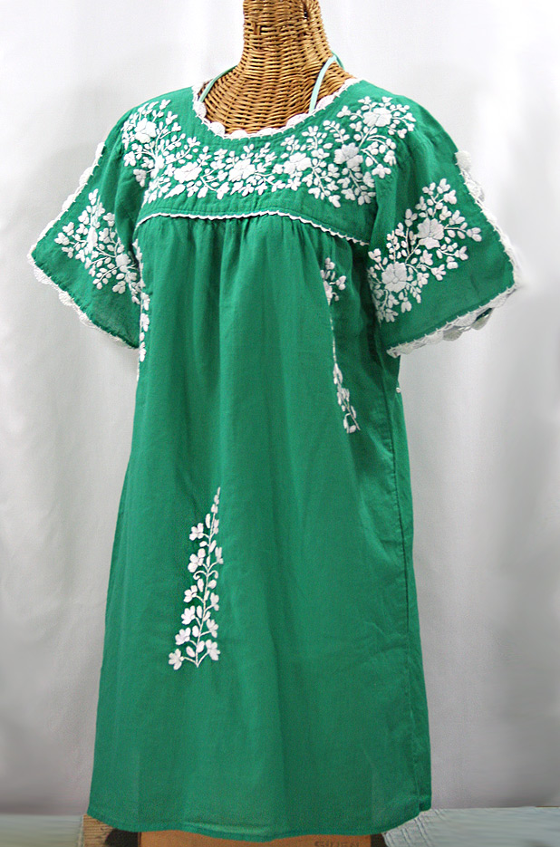 """La Primavera"" Embroidered Mexican Dress - Green + White"