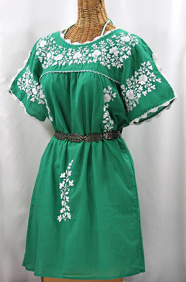 """""""La Primavera"""" Embroidered Mexican Dress - Green + White"""