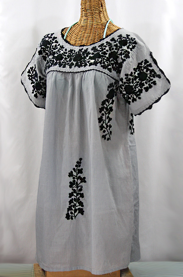 """La Primavera"" Embroidered Mexican Dress - Grey + Black"