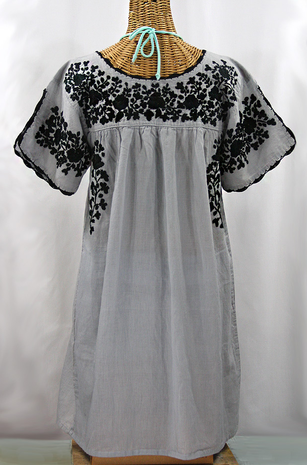 """""""La Primavera"""" Embroidered Mexican Dress - Grey + Black"""