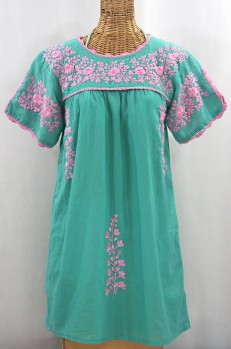 """La Primavera"" Embroidered Mexican Dress - Mint + Pink"