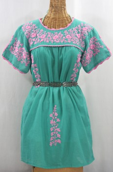 """La Primavera"" Embroidered Mexican Dress - Mint + Pink"