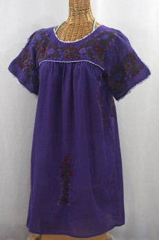 """La Primavera"" Embroidered Mexican Dress - Purple + Deep Jewel"