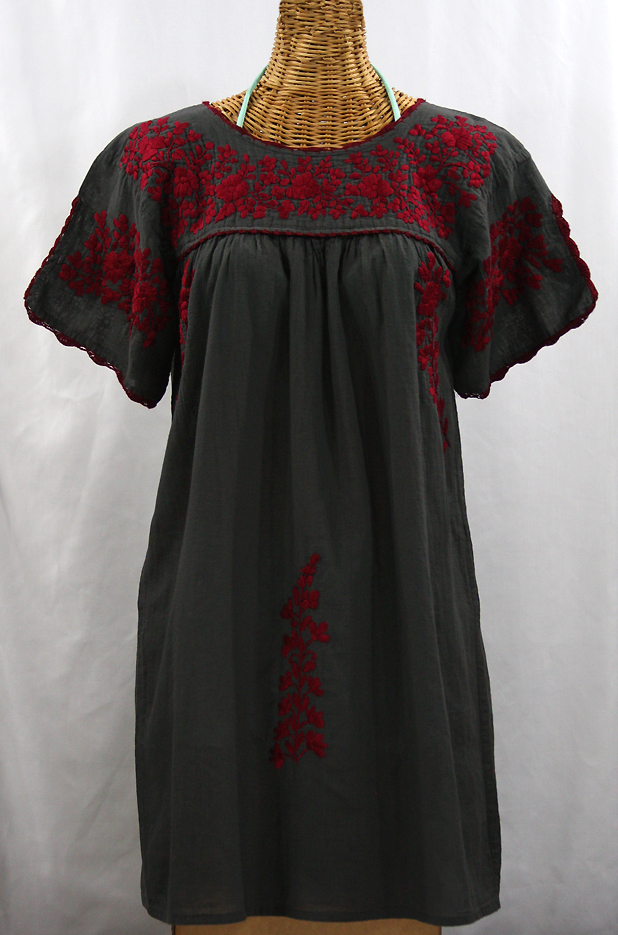 """La Primavera"" Embroidered Mexican Dress - Charcoal + Maroon"