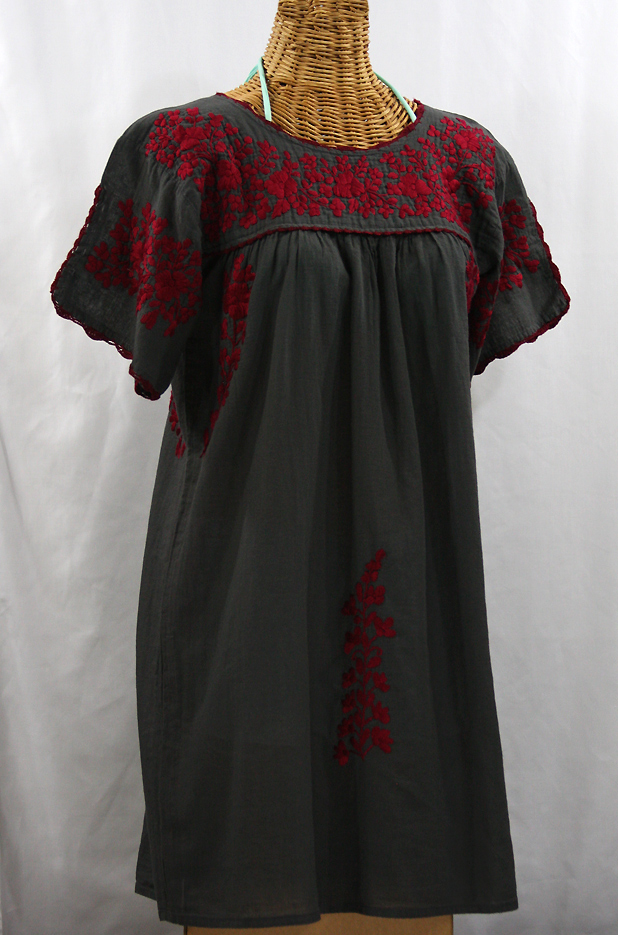"""La Primavera"" Embroidered Mexican Dress - Charcoal + Maroon"