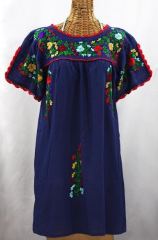 """La Primavera"" Embroidered Mexican Dress - Denim Blue + Bright Multi"