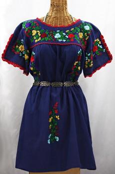 """""""La Primavera"""" Embroidered Mexican Dress - Denim Blue + Bright Multi"""