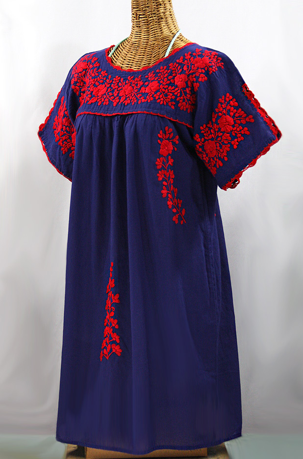 """La Primavera"" Embroidered Mexican Dress - Denim Blue + Red"