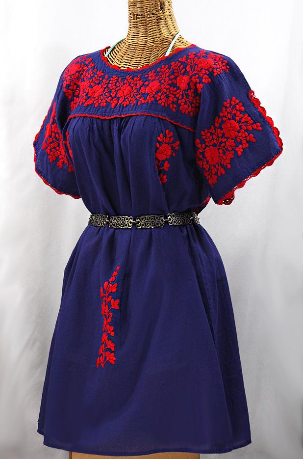"""""""La Primavera"""" Embroidered Mexican Dress - Denim Blue + Red"""