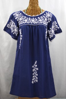 """La Primavera"" Embroidered Mexican Dress - Denim Blue + White"