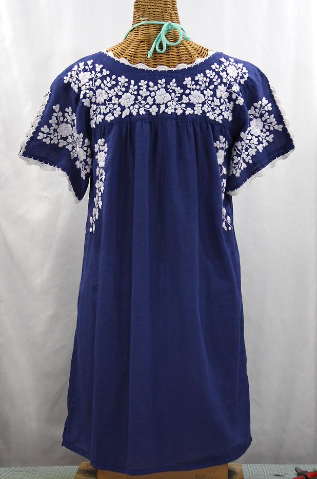 Quot La Primavera Quot Embroidered Mexican Dress Denim Blue White