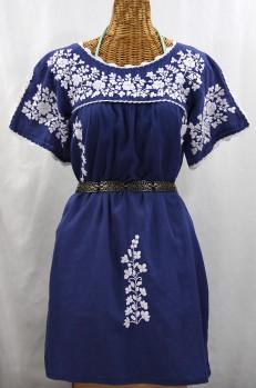 """""""La Primavera"""" Embroidered Mexican Dress - Denim Blue + White"""