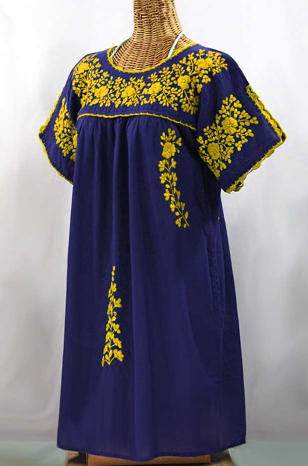 """La Primavera"" Embroidered Mexican Dress - Denim Blue + Yellow"