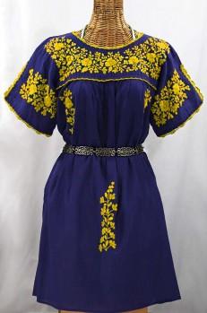 """""""La Primavera"""" Embroidered Mexican Dress - Denim Blue + Yellow"""