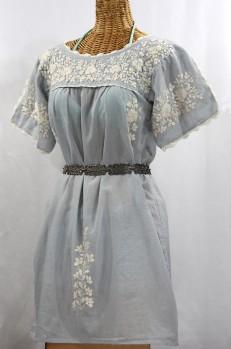 """""""La Primavera"""" Embroidered Mexican Dress - Grey + Off White"""