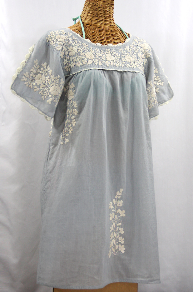 """La Primavera"" Embroidered Mexican Dress - Grey + Off White"