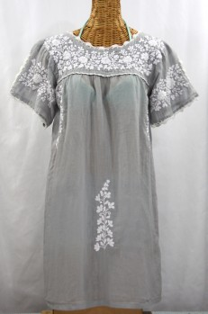 """""""La Primavera"""" Embroidered Mexican Dress - Grey + White"""