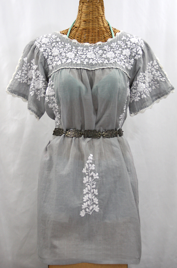 """La Primavera"" Embroidered Mexican Dress - Grey + White"