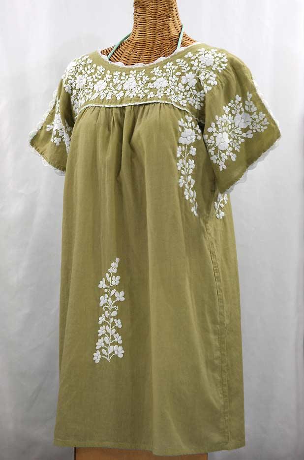 """""""La Primavera"""" Embroidered Mexican Dress - Khaki + White"""