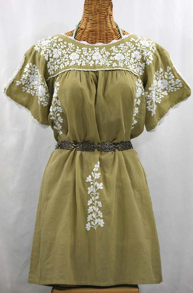 """La Primavera"" Embroidered Mexican Dress - Khaki + White"