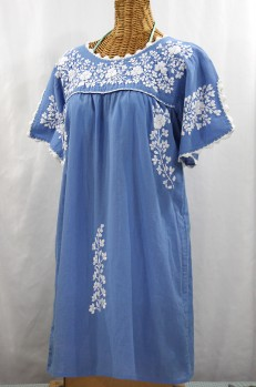 """La Primavera"" Embroidered Mexican Dress - Light Blue + White"