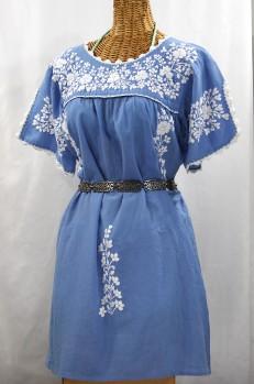 """""""La Primavera"""" Embroidered Mexican Dress - Light Blue + White"""