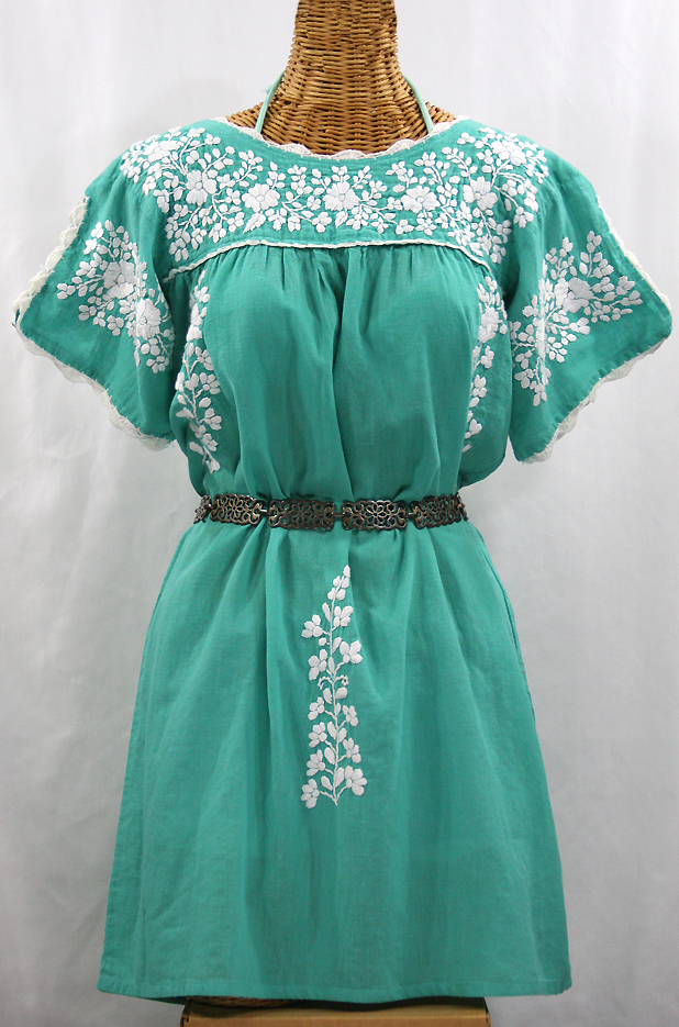"""La Primavera"" Embroidered Mexican Dress - Mint + White"