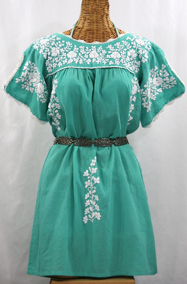 """""""La Primavera"""" Embroidered Mexican Dress - Mint + White"""