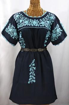 """""""La Primavera"""" Embroidered Mexican Dress - Navy + Neon Blue"""