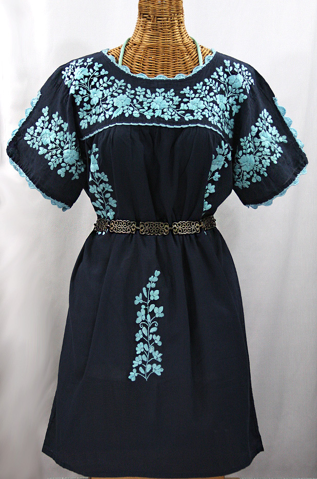 """La Primavera"" Embroidered Mexican Dress - Navy + Neon Blue"