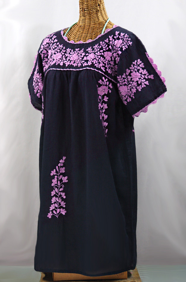 """La Primavera"" Embroidered Mexican Dress - Navy + Pink"