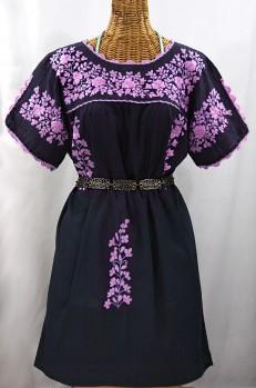"""La Primavera"" Embroidered Mexican Dress - Navy + Pink"