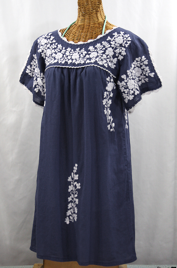 """La Primavera"" Embroidered Mexican Dress - Navy Blue + White"