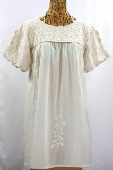 """La Primavera"" Embroidered Mexican Dress - Off White"