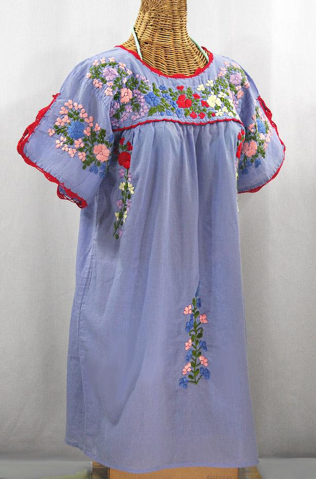 """""""La Primavera"""" Embroidered Mexican Dress - Periwinkle + Multi"""