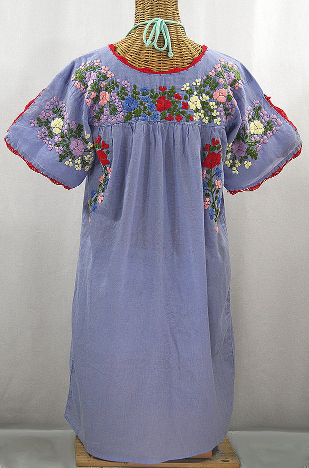 """La Primavera"" Embroidered Mexican Dress - Periwinkle + Multi"