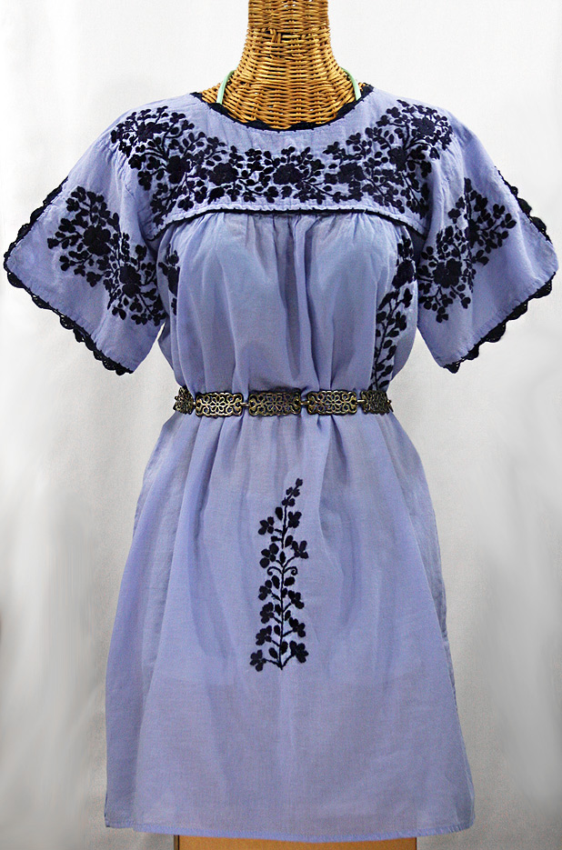 """La Primavera"" Embroidered Mexican Dress - Periwinkle + Navy"