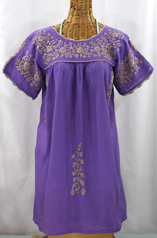 """La Primavera"" Embroidered Mexican Dress - Purple + Cocoa"
