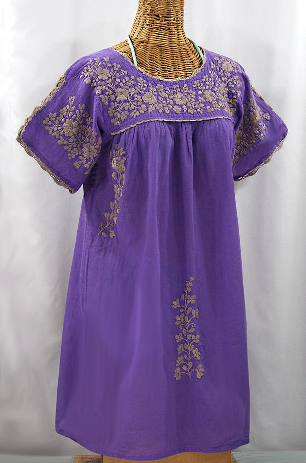 """""""La Primavera"""" Embroidered Mexican Dress - Purple + Cocoa"""