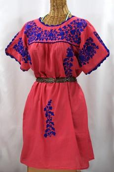 """""""La Primavera"""" Embroidered Mexican Dress - Tomato Red + Blue"""