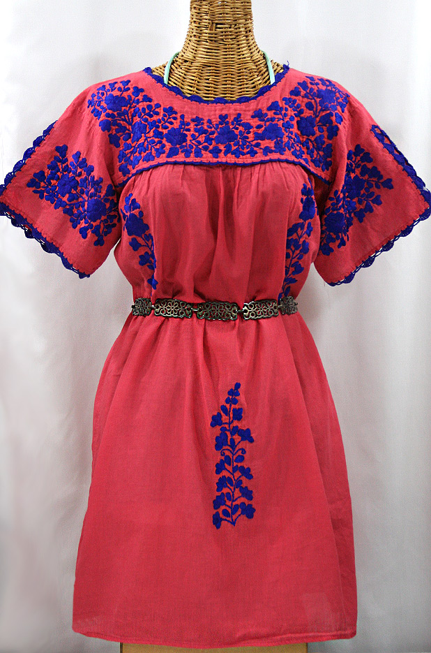 """La Primavera"" Embroidered Mexican Dress - Tomato Red + Blue"